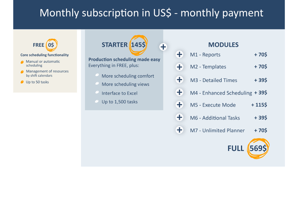 Monthly fees - USD - monthly payment