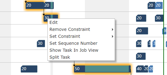 Split task via right-click context menu