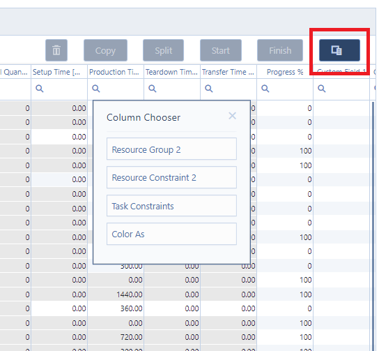 set up of new update dialog in just plan it - production scheduling software for HMLV manufacturer