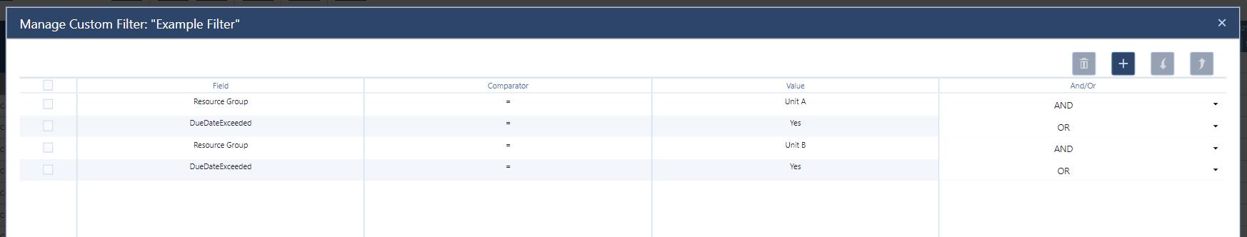 set up of custom filter in just plan it - production scheduling software for HMLV manufacturer