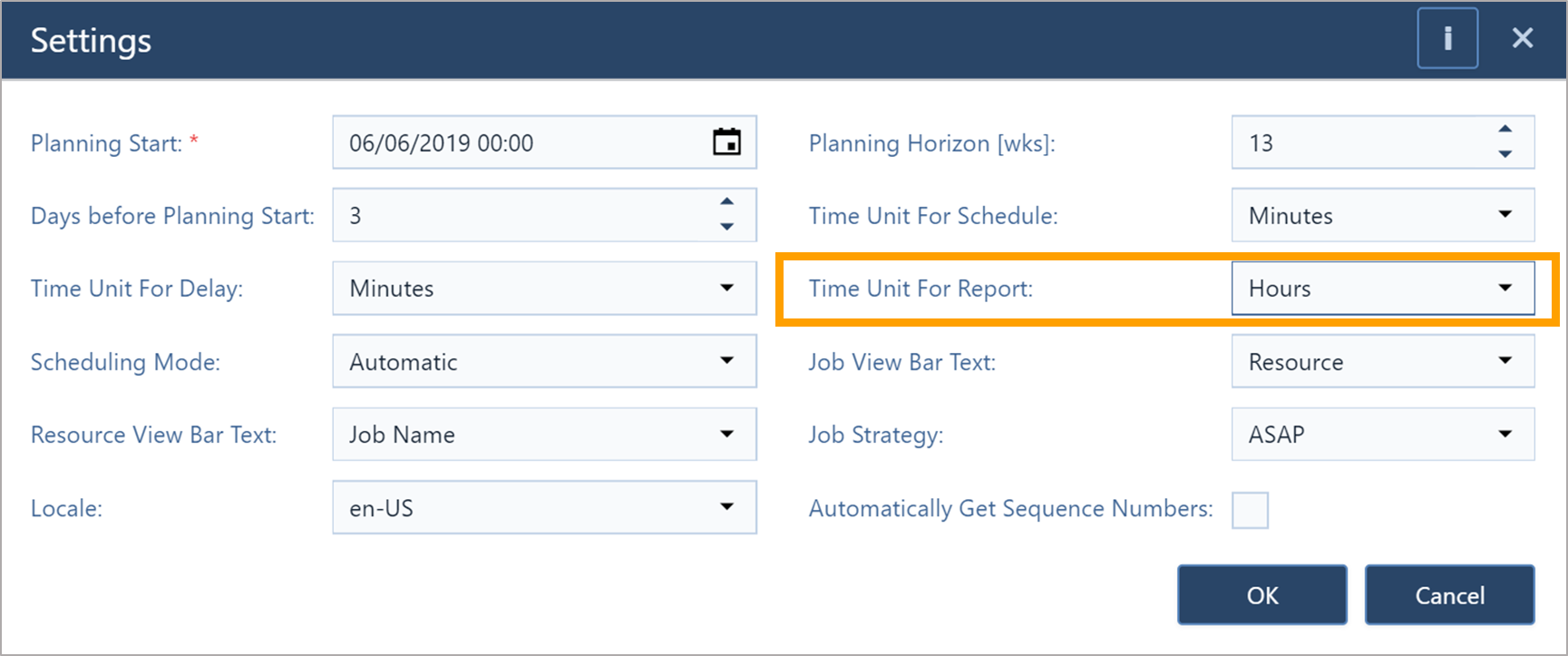 job shop scheduling - time unit for reports