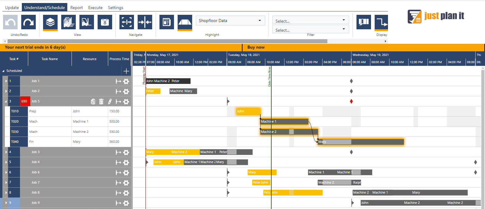 just plan it - production scheduling with Excel data