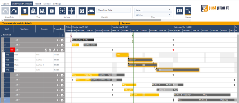 production scheduling from jobs point of view
