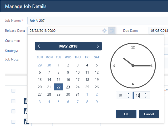 Easy editing of jobs, tasks, and resources.