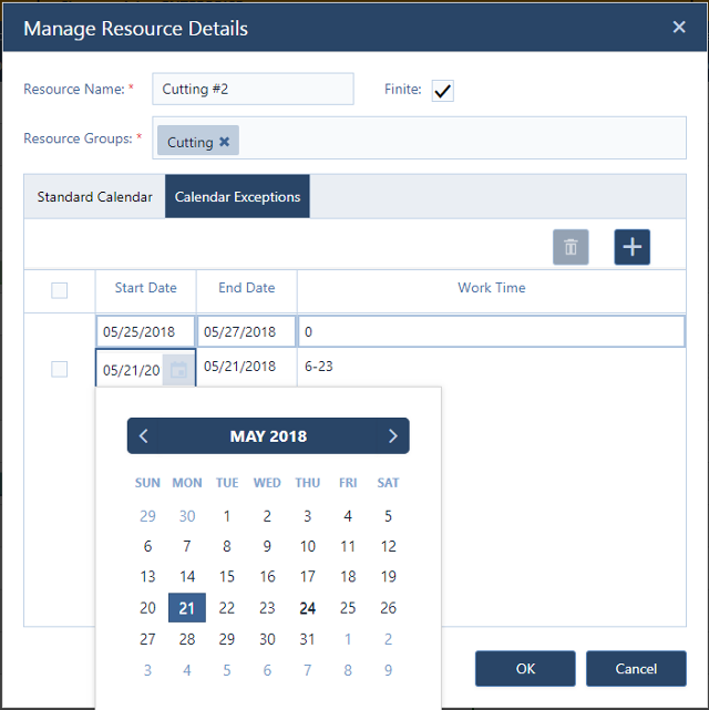 Manage resource calendars and their exceptions
