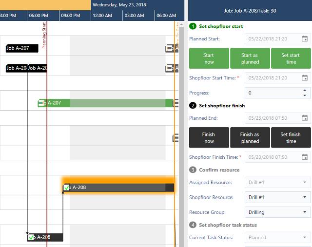 Easy update of schedule with shopfloor data