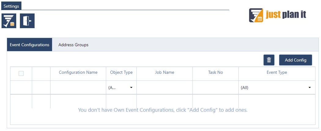 just plan it event messenger configuration