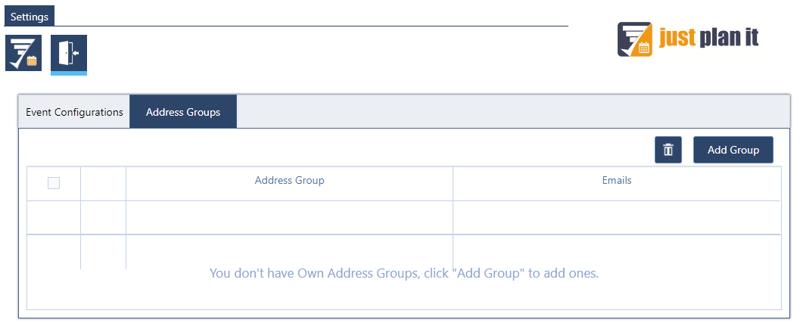 just plan it event messenger configuration address groups