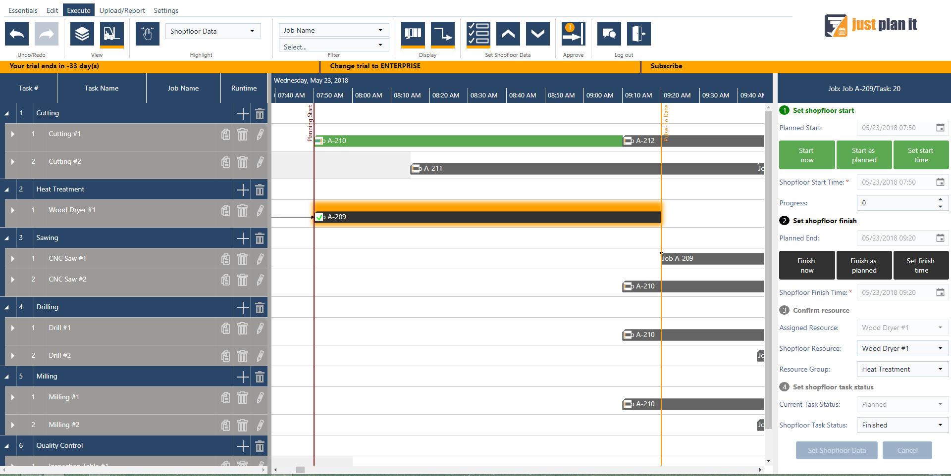 Execute Mode: Job shop scheduling meets manufacturing execution